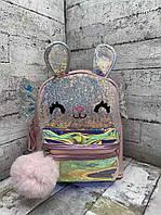 Детский рюкзак 8705 Рюкзак для девочки с крыльями Розовый