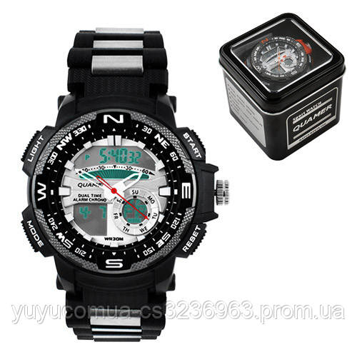 Часы наручные QUAMER 1514-Box, браслет карбон, dual time с подарочной коробкой