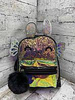 Детский рюкзак 8705 Рюкзак для девочки с крыльями Чёрный