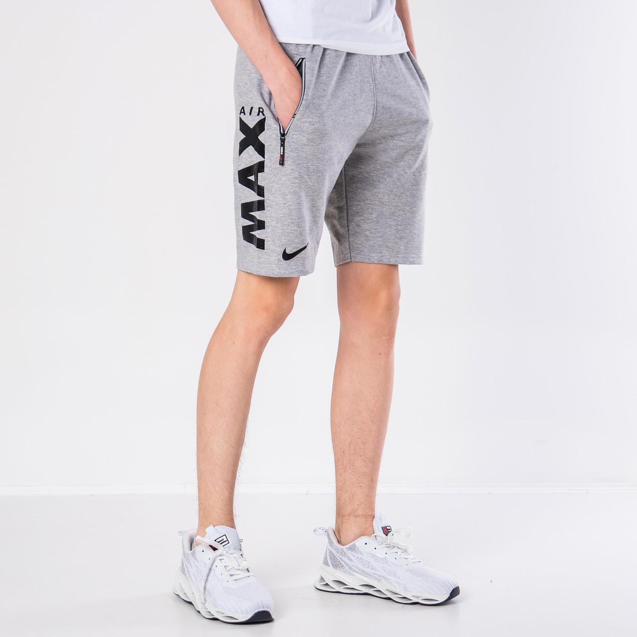 Мужские трикотажные шорты Nike, светло-серого цвета.
