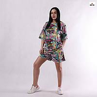Костюм женский стильный летний футболка с шортами оверсайз