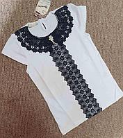 """Блузка підліткова ошатна з мереживом на дівчинку 140-176(2цв)""""JUNIOR""""купити недорого від прямого постачальника"""