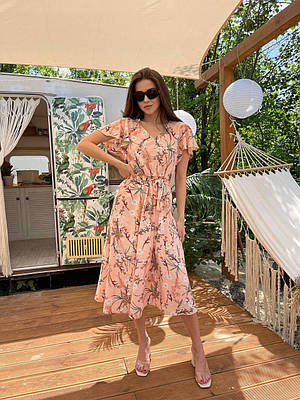Женское летнее платье миди с цветочным принтом