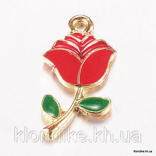 Кулон Роза, Сплав, Эмалированный, 23.5x12x2.5мм, Цвет: Красный (5 шт)