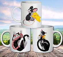 """Семейные белые чашки (кружки) с принтом """"Кошки и мышки"""""""