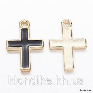 Кулон Крест, Сплав, Эмалированный, 16.5x11x1.5мм, Цвет: Черный (5 шт)
