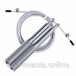 Скакалка швидкісна на підшипниках алюмінієва PowerPlay 4207 Срібна