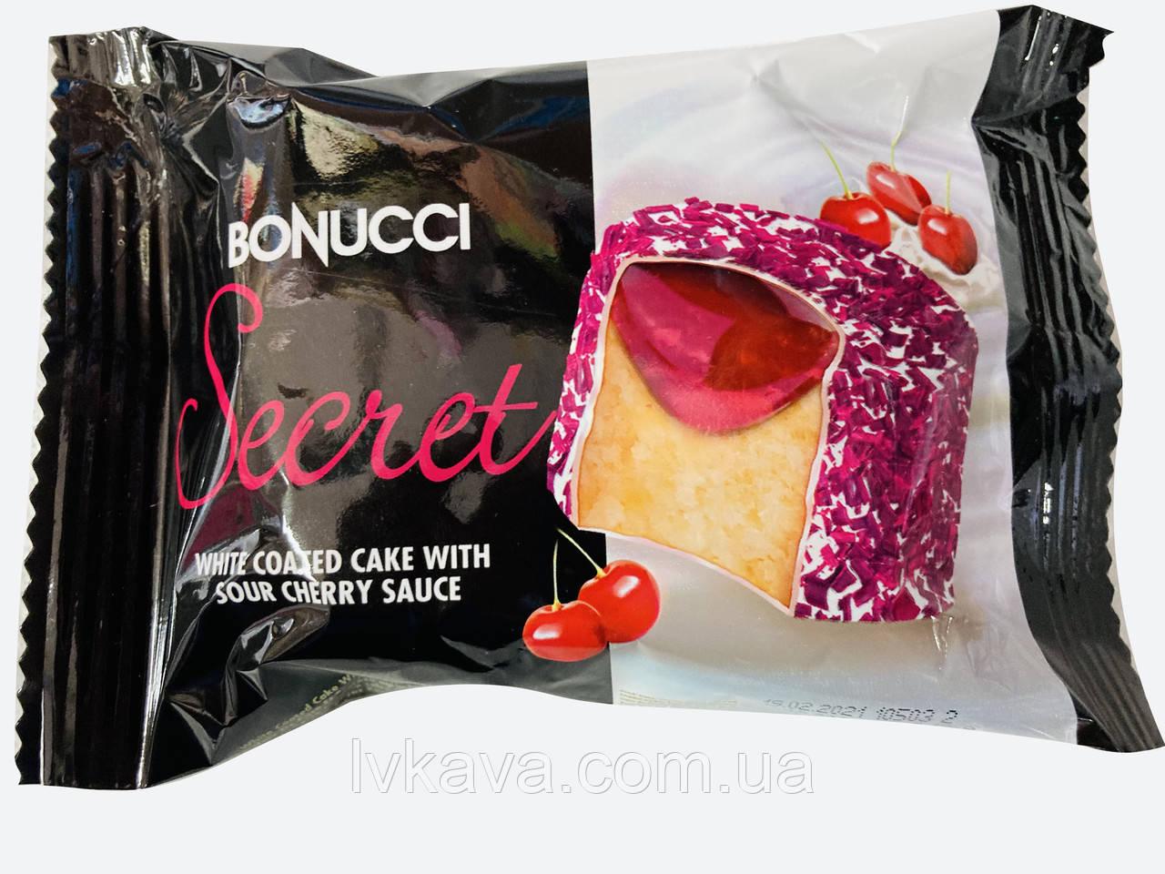 Бисквит  Secret в белой глазури с вишневым соусом Bonucci , 50 гр