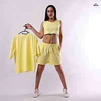 Женский костюм-тройка футболка топ и шорти летний оверсайз свободный желтый 42-52