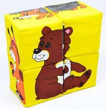 """Набор кубиков собери картинку """"Дикие животные"""" 4шт"""
