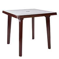 Пластиковый квадратный стол, шоколад