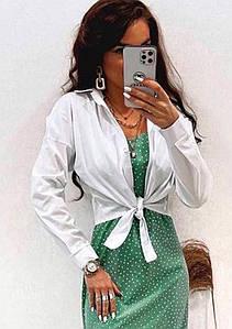 Рубашки женские белая коротка  на завязках