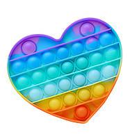 Антистрес іграшка Pop It (ПОП ІТ) Серце веселка, фото 1