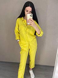 Легкий льняной костюм: рубашка с подгибаемым рукавом и штаны с карманами, норма и батал большие размеры