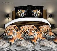 """3D Постільна білизна двоспальне """"Софія"""" - Тигри біля річки"""