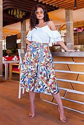 Оригинальный женский костюм: блуза с открытыми плечами и бриджи-кюлоты, батал большие размеры