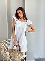 Женское льняное платье летнее, цвета: чёрный, желтый, белый, размеры: 42-44, 44-46