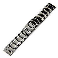 Браслет для часов керамический. Черный с серебристыми вставками. 24 мм