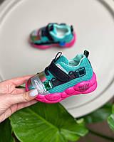 Кроссовки детские стильные розовые с мятным вставками для девочки на шнурочках