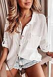 Біла сорочка подовжена жіночий з кишенями на грудях (р. 42-46) 7313498, фото 3