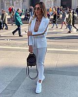 Женский Молодежный летний белый брючный костюм Пиджак +брюки.Новое поступление весна лето.Качество.