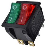 Переключатель клавишный широкий сдвоенный с подсветкой 220V красный + зеленый (11208RG)