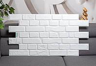Пластикова 3д панель ретро цегла білий 951 * 495 мм декоративна пвх панель