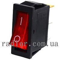 Переключатель KCD3 клавишный, с подсветкой ON-OFF 3-х контактный, 15A, 250V, красный