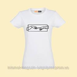 """Женская футболка с принтом """"Сотворение Адама"""""""
