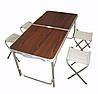 Стіл для пікніка посилений з 4 стільцями Folding Table 120х60х55/60/70 см (дерев'яний)