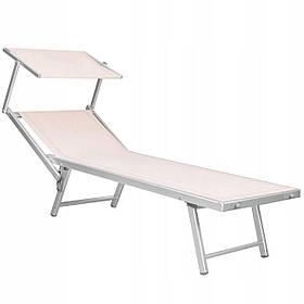 Шезлонг (лежак) для пляжа, террасы и сада с навесом Springos GC0040