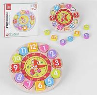 Детские обучающие часы, Развивающая обучающая деревянная игра Часы Fun Game 34737 игры для детей от 3 лет