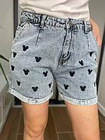 Женский джинсовые шорты Микки-Маус размер 28