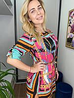 Платье цветное принт с цепями универсальный размер S-L