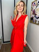 Платье льняное под пояс с пуговками красный L