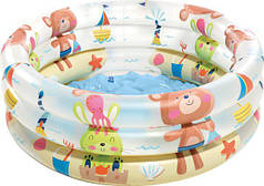 """Бассейн надувной детский 61х22 см """"Животные"""" с надувным дном Intex 57106"""