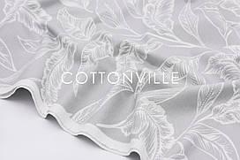 Декоративная ткань/ панама Листья на сером