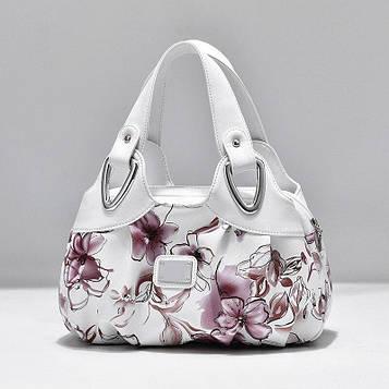 Женская белая сумка с цветочным принтом код 3-102