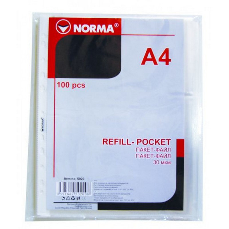 Файли А4+ 30мкм, NORMA, фактура глянець 100 шт/уп