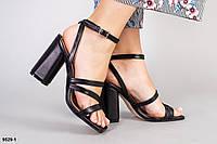 Босоножки женские черные кожаные на каблуке, фото 1