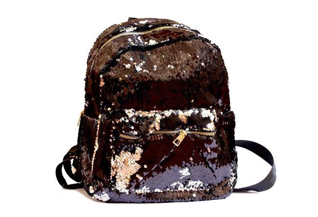 Рюкзак тканинний 32*25см з двухсторон. паєтками, чорний-срібло