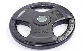 Млинці (диски) 20 кг d-52 мм обгумовані з потрійним хватом Record TA-5706-20