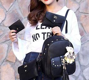 Жіноча сумка 4 в 1 ЧОРНА Teddy Back Pack Bag