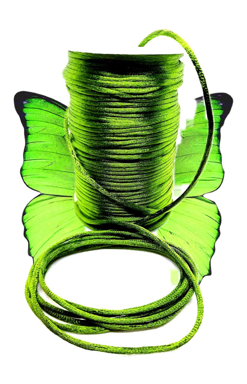 Шнур (1м). Для браслетів зелений, атласний. Для будь-яких браслетів, відмінно заплавляются. Унісекс.