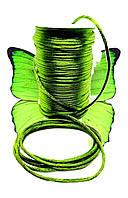 Шнур (1м). Для браслетів зелений, атласний. Для будь-яких браслетів, відмінно заплавляются. Унісекс., фото 1