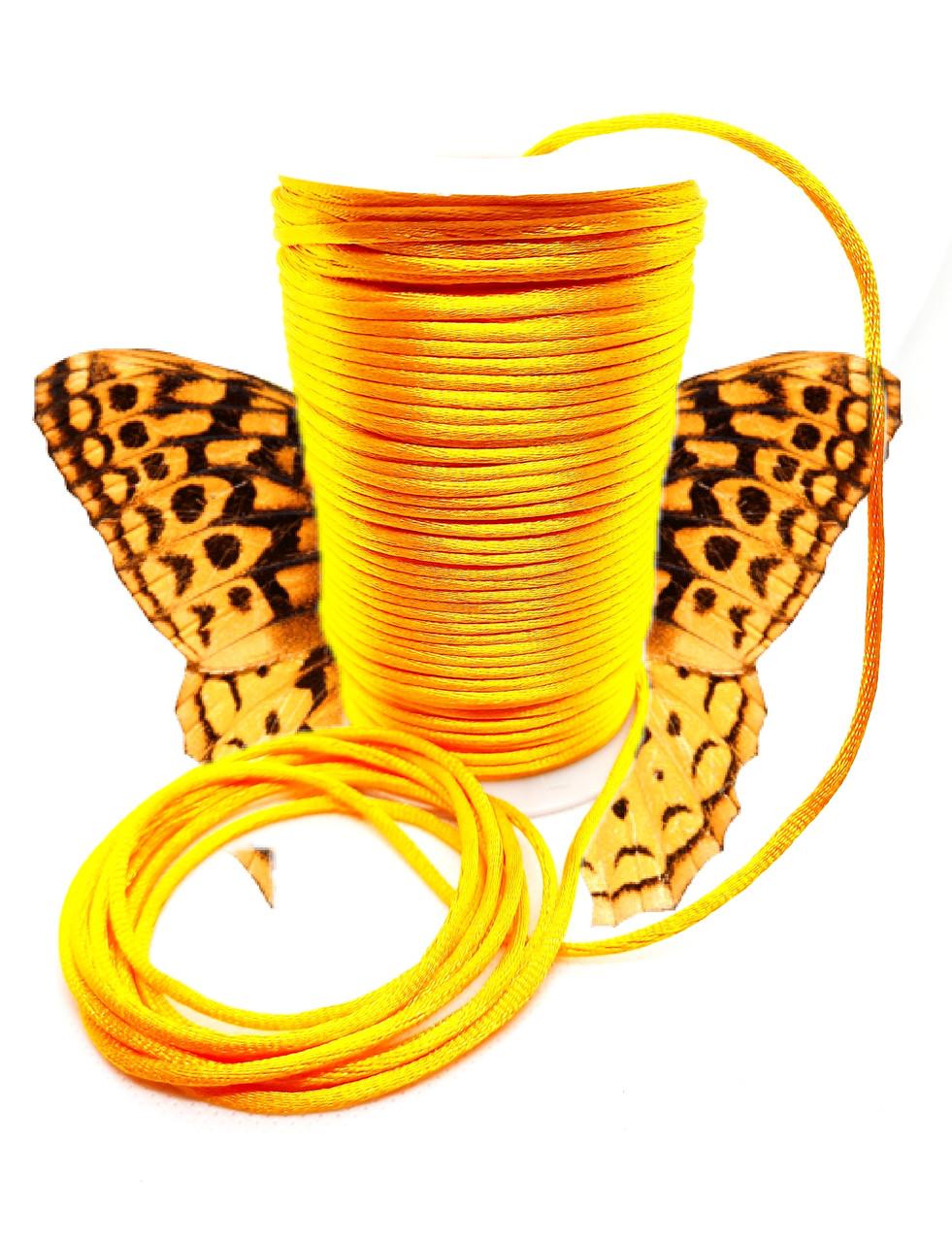 Шнур (1м). Для браслетов жёлтый, атласный. Для любых браслетов, отлично заплавляется. Унисекс.