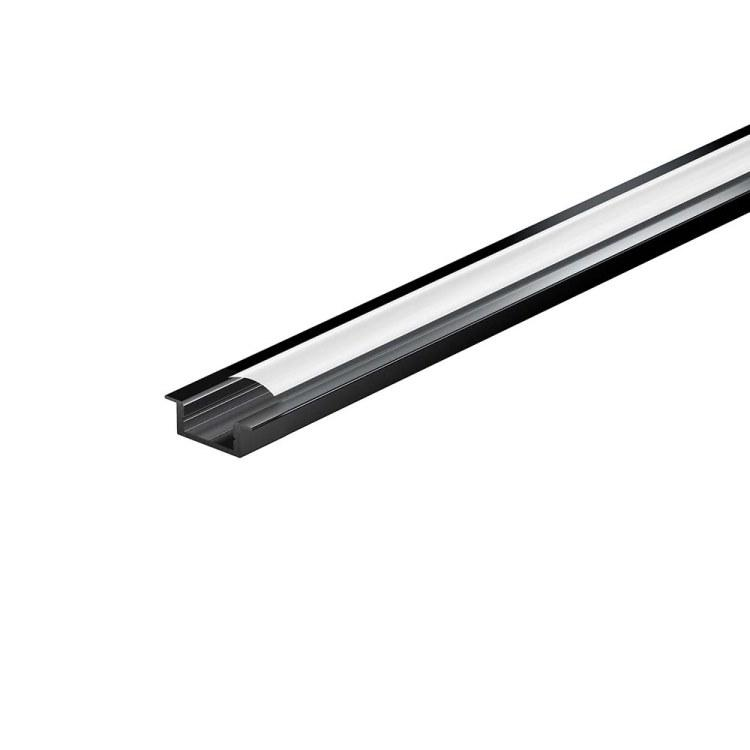 Черный профиль врезной LED-профиль с матовым рассеивателем  LPV-7В (за 1м) Код.59799