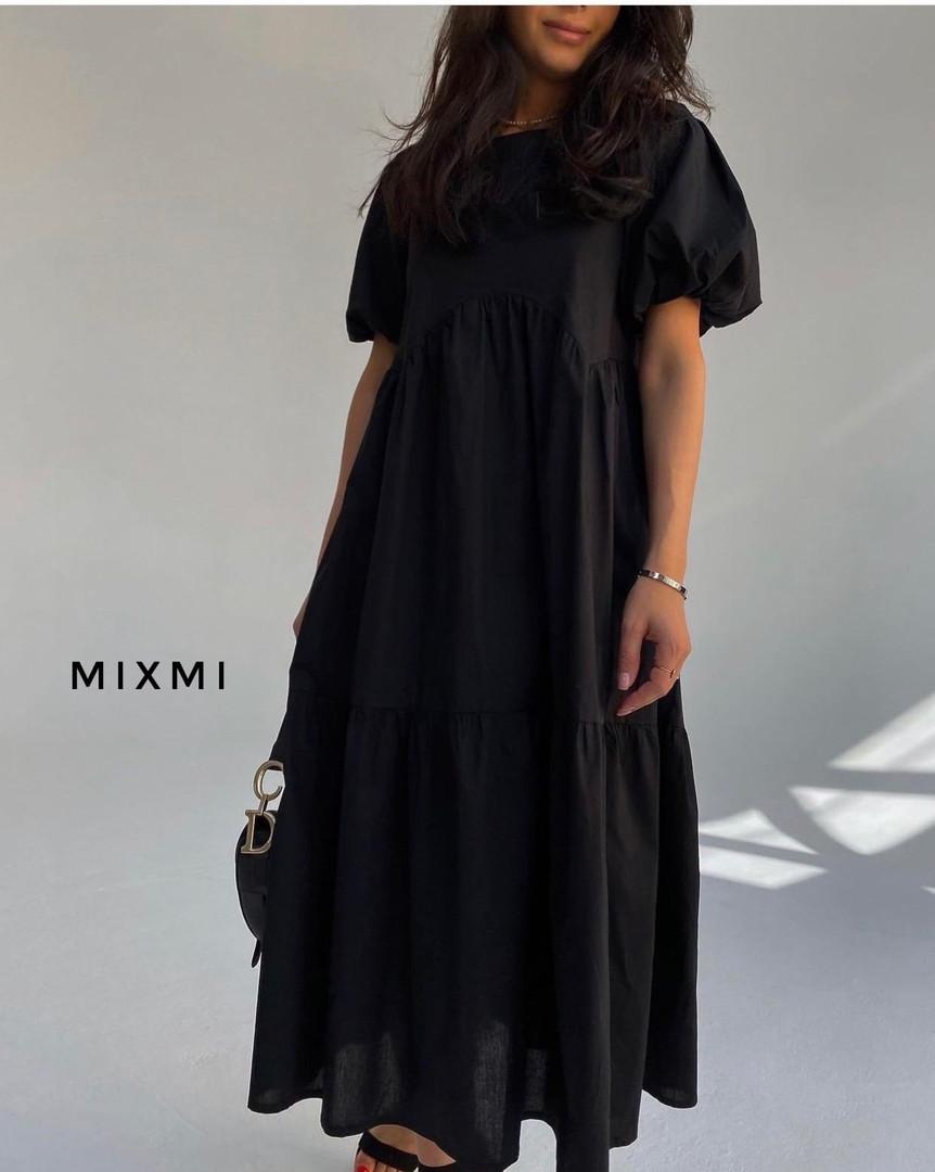 Женское платье, коттон, р-р универсальный 42-46 (чёрный)