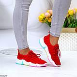 Яркие красные тканевые текстильные женские кроссовки на подошве мультиколор 36-23 37-23,5 39-24,5 41, фото 2