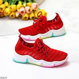 Яркие красные тканевые текстильные женские кроссовки на подошве мультиколор 36-23 37-23,5 39-24,5 41, фото 5